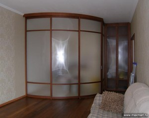 """фото p0r-132     """"Радиусная стеклянная перегородка и шкаф со складной дверью""""."""""""
