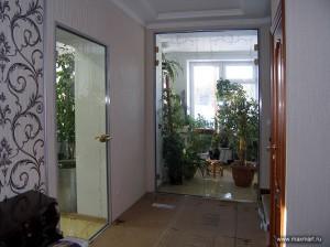 Фото k00-022;  Двери в зимний сад из закалённого стекла