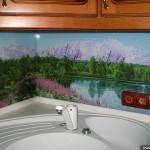 Кухонный фартук из стекла с фотопечатью.