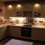 Фотопечать на стеклах кухонных фасадов и стеклянном фартуке для кухни.