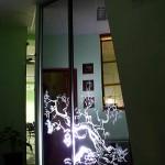 Встроенный шкаф-купе с зеркальными дверьми. На дверях - пескоструйный рисунок.