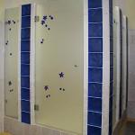 Двери для душевой из декорированного стекла.
