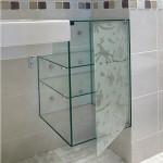 Навесной стеклянный шкаф для ванной комнаты.