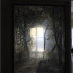 Стационарная перегородка из стекла с фотопечатью.