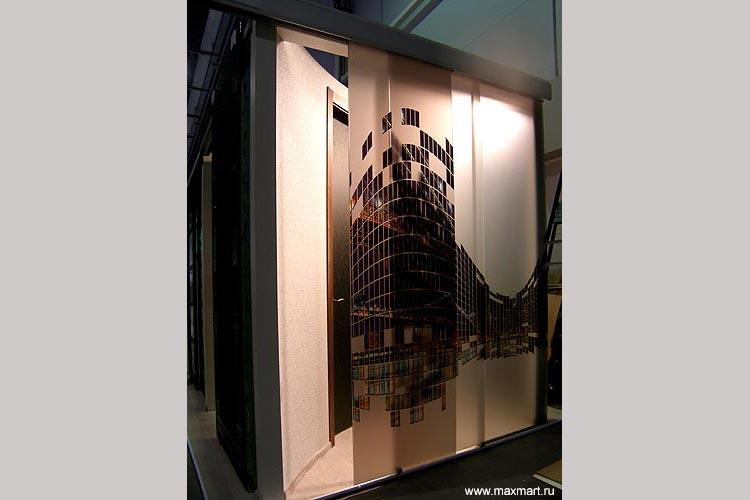 Перегородка из стекла с фотопечатью.