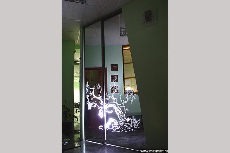 Шкаф-купе. Двери - зеркало с пескоструйным рисунком.