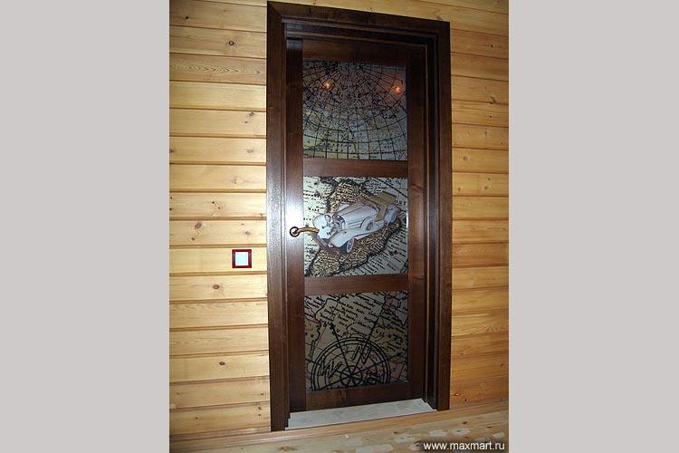 Дверь стеклянная с фотопечатью.