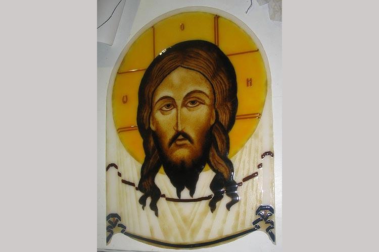 """Стеклянная картина """"Иисус""""."""