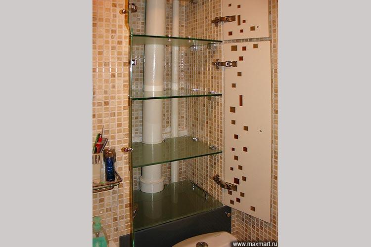 Полочки из стекла для ванной комнаты.
