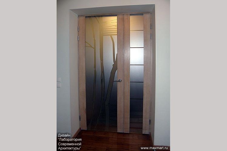 Двери межкомнатные с матовым рисунком.